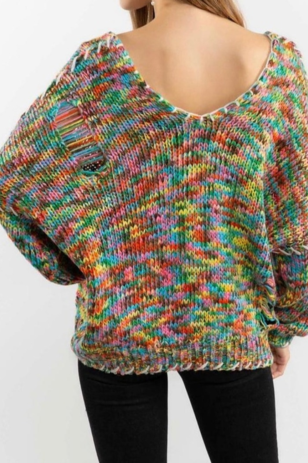 POL Rainbow Thread V Neck Distressed Sweater - Back Cropped Image
