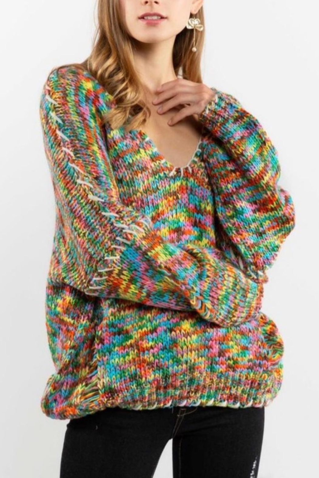 POL Rainbow Thread V Neck Distressed Sweater - Front Cropped Image
