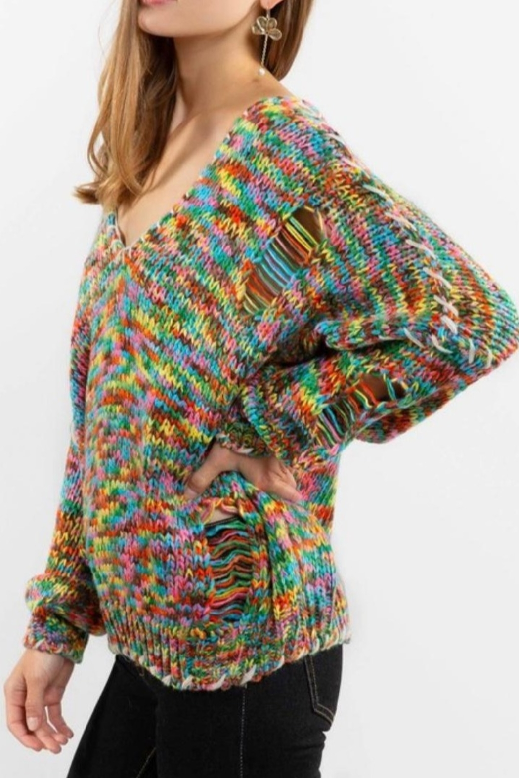 POL Rainbow Thread V Neck Distressed Sweater - Side Cropped Image