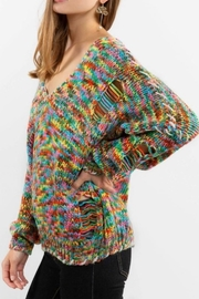 POL Rainbow Thread V Neck Distressed Sweater - Side cropped