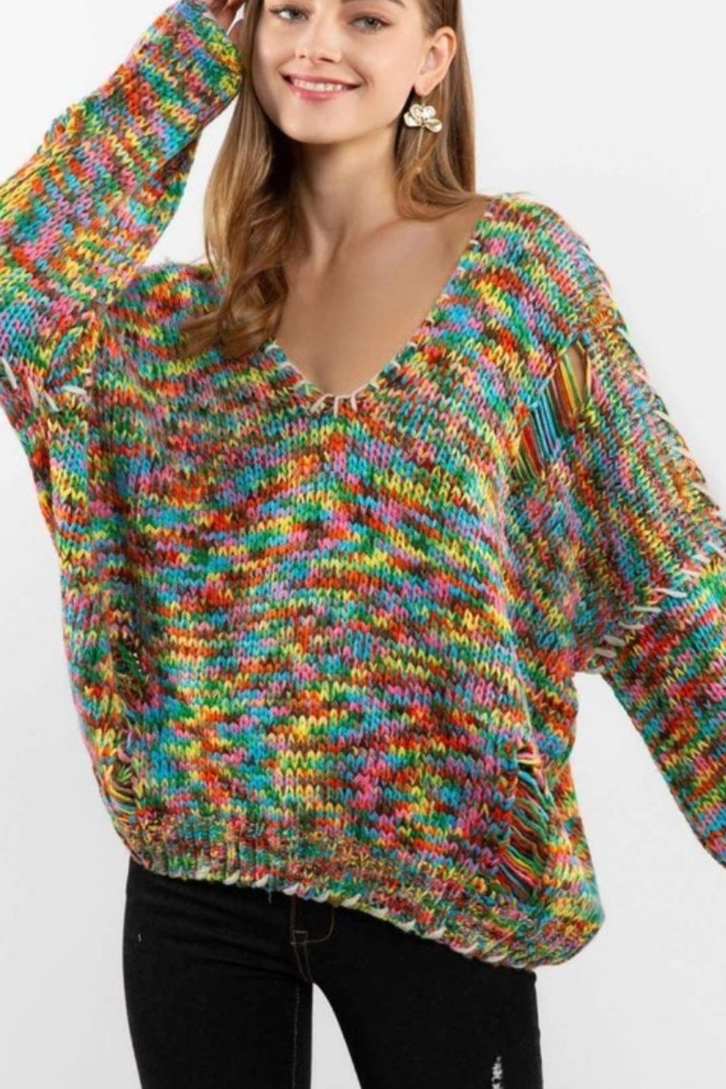 POL Rainbow Thread V Neck Distressed Sweater - Front Full Image