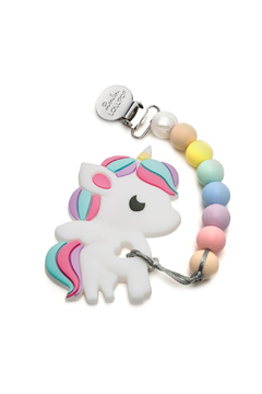 loulou LOLLIPOP Rainbow Unicorn Silicone Teether Holder Set - Cotton Candy - Product List Image