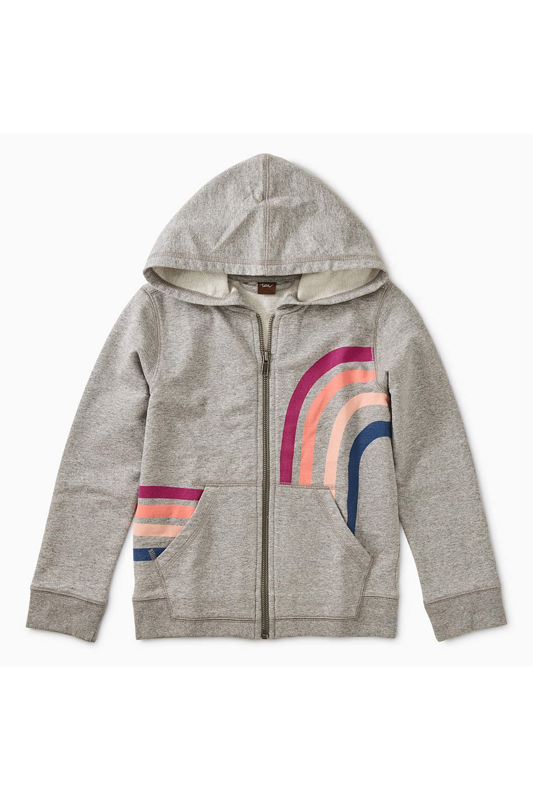 Tea Collection Rainbow Zip Hoodie - Front Cropped Image