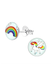 Silver Jewels Rainbows And Unicorns Silver Stud Earrings - Front cropped