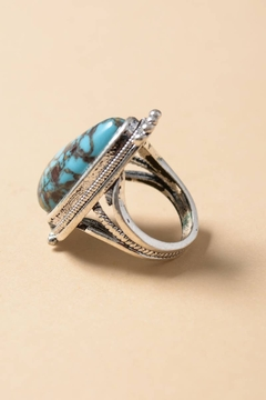 Leto Accessories  Raindrop Turquoise Silver Fashion Ring - Alternate List Image