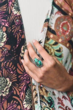 Leto Accessories  Raindrop Turquoise Silver Fashion Ring - Product List Image