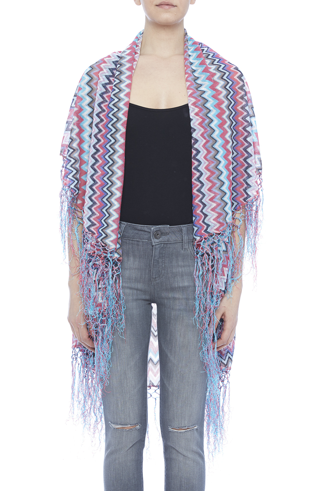 Raj Lotus Raj Cardigan Chevron Pattern - Side Cropped Image