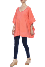 Raj Lotus Embroidered Lace Caftan - Front full body