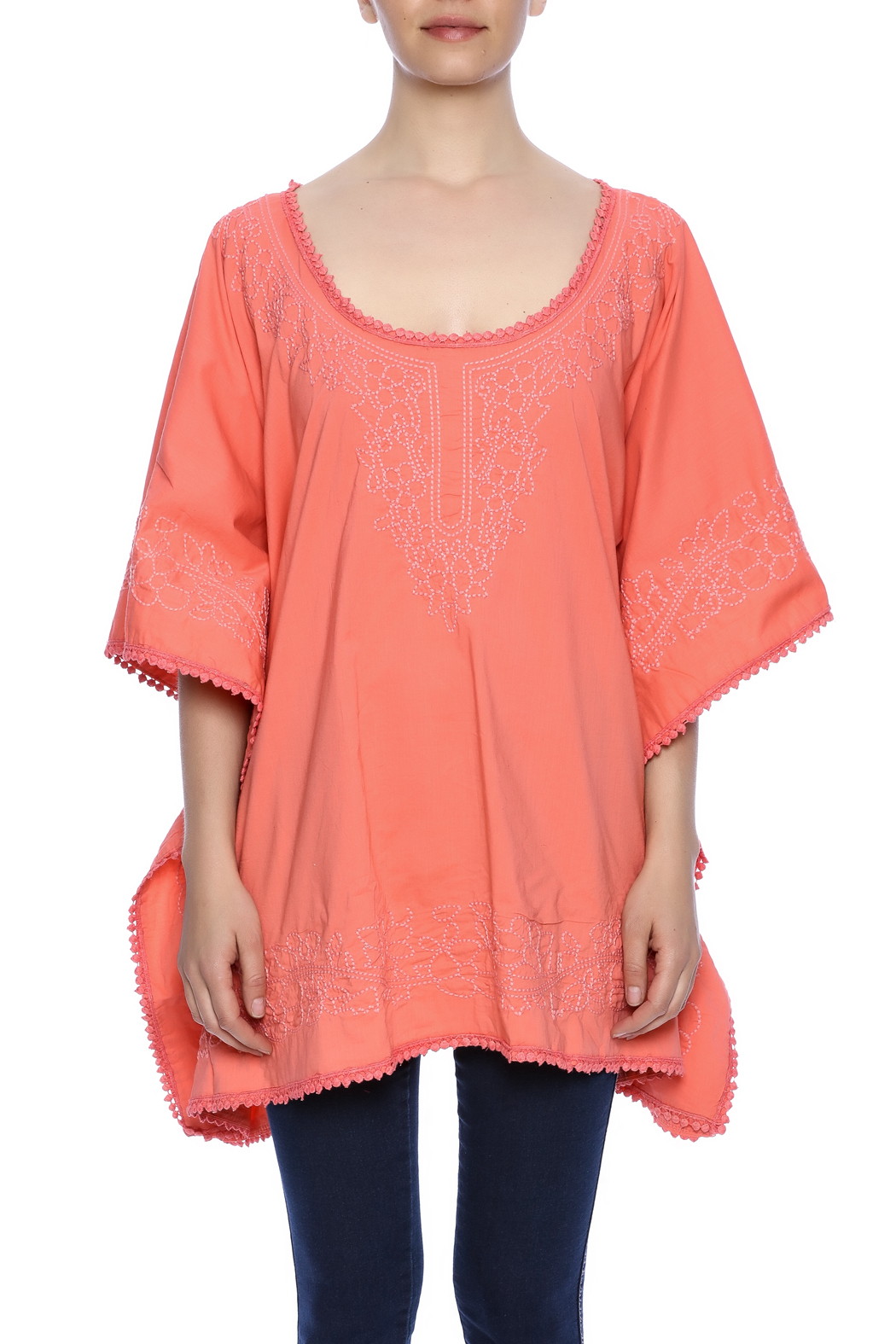 Raj Lotus Embroidered Lace Caftan - Side Cropped Image