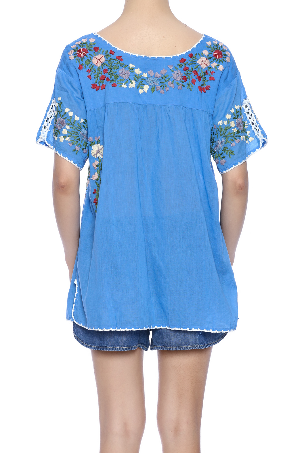Raj Lotus Embroidered Mexican Peasant top - Back Cropped Image