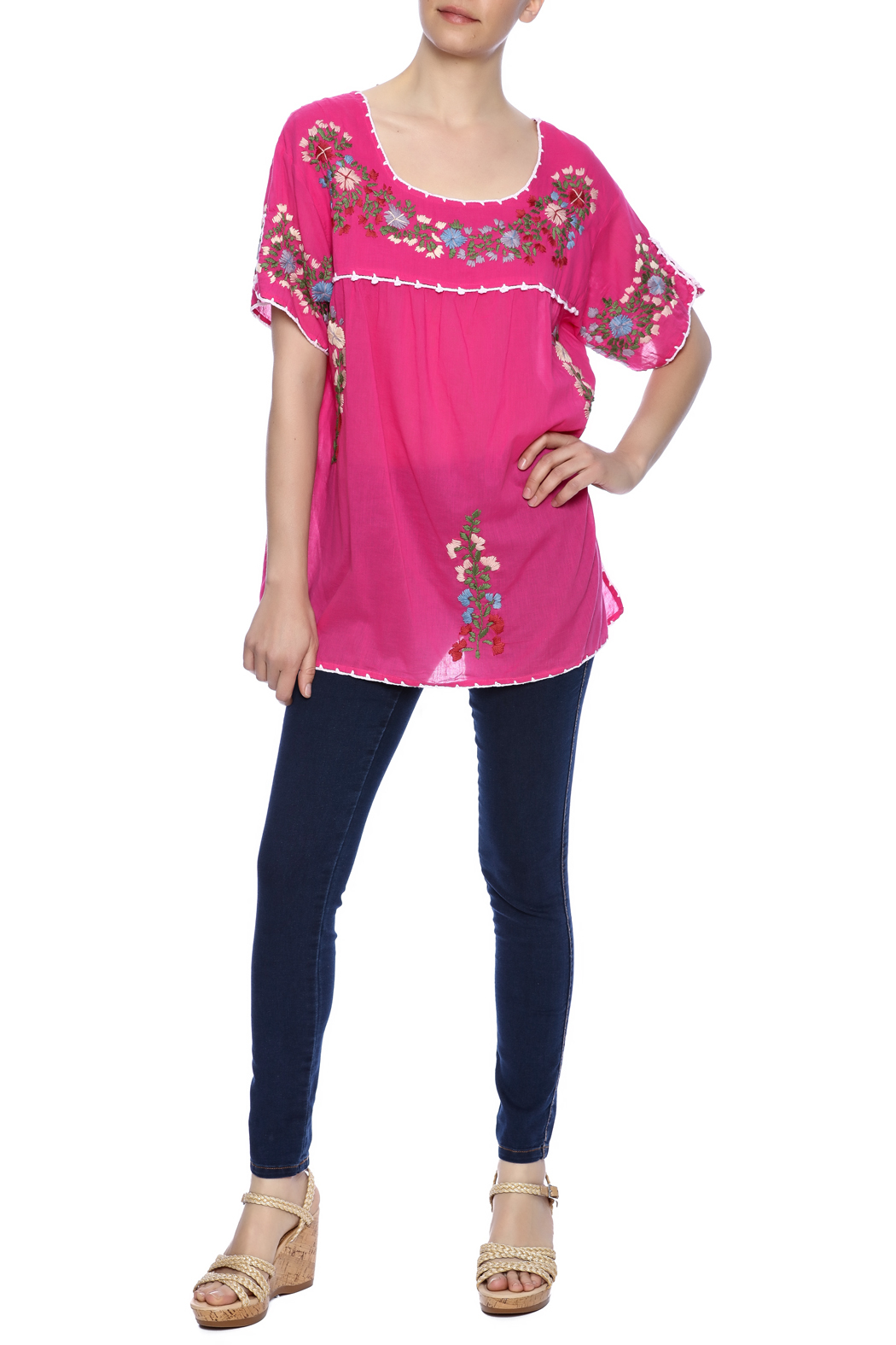 Raj Lotus Embroidered Mexican Peasant top - Front Full Image
