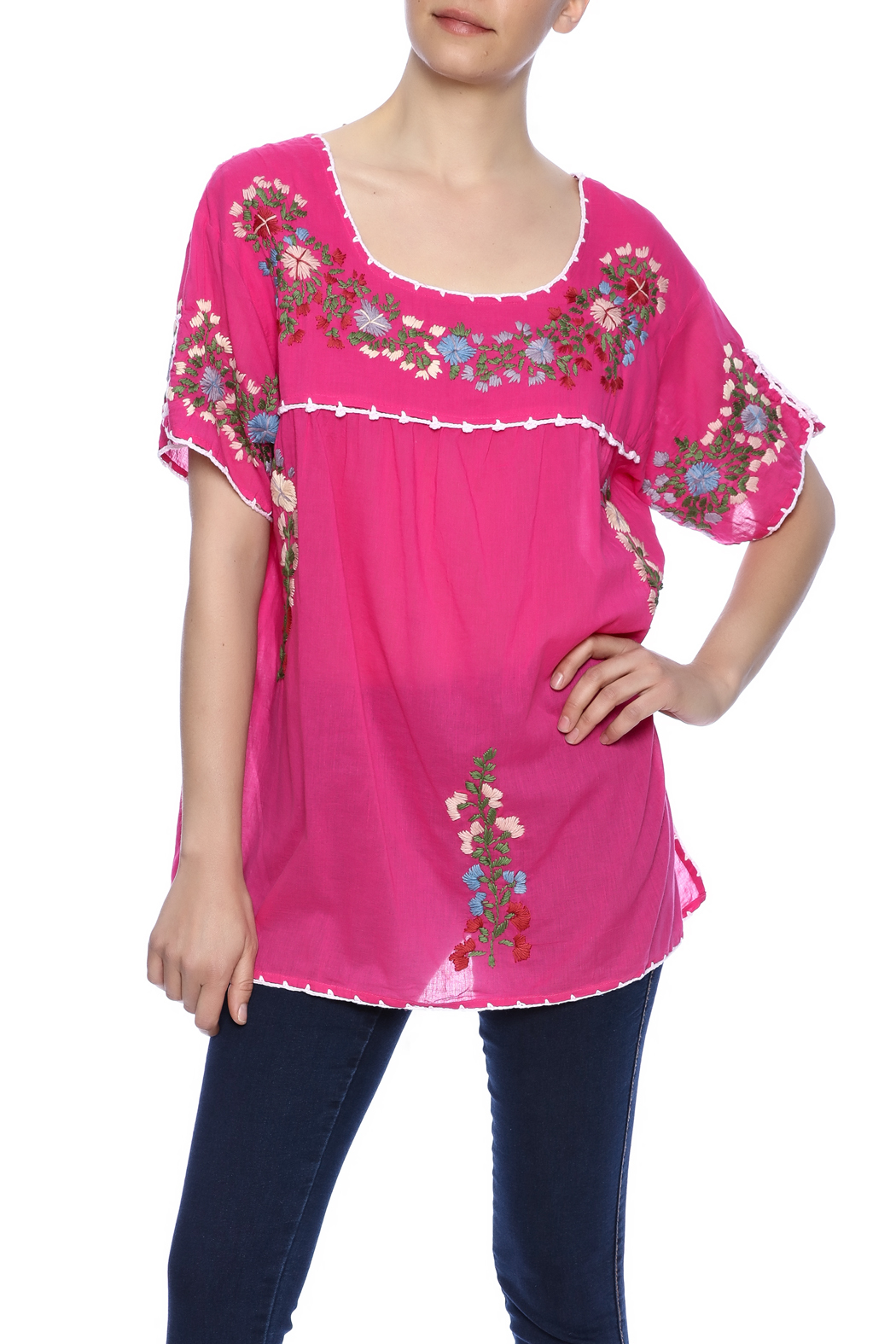 Raj Lotus Embroidered Mexican Peasant top - Front Cropped Image