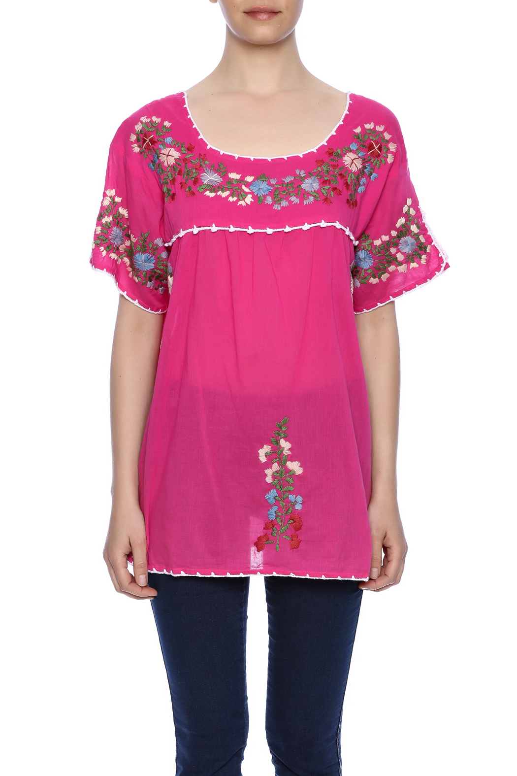 Raj Lotus Embroidered Mexican Peasant top - Side Cropped Image