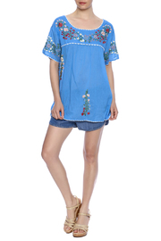 Raj Lotus Embroidered Mexican Peasant top - Front full body