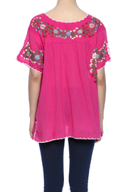 Raj Lotus Embroidered Mexican Peasant top - Back cropped