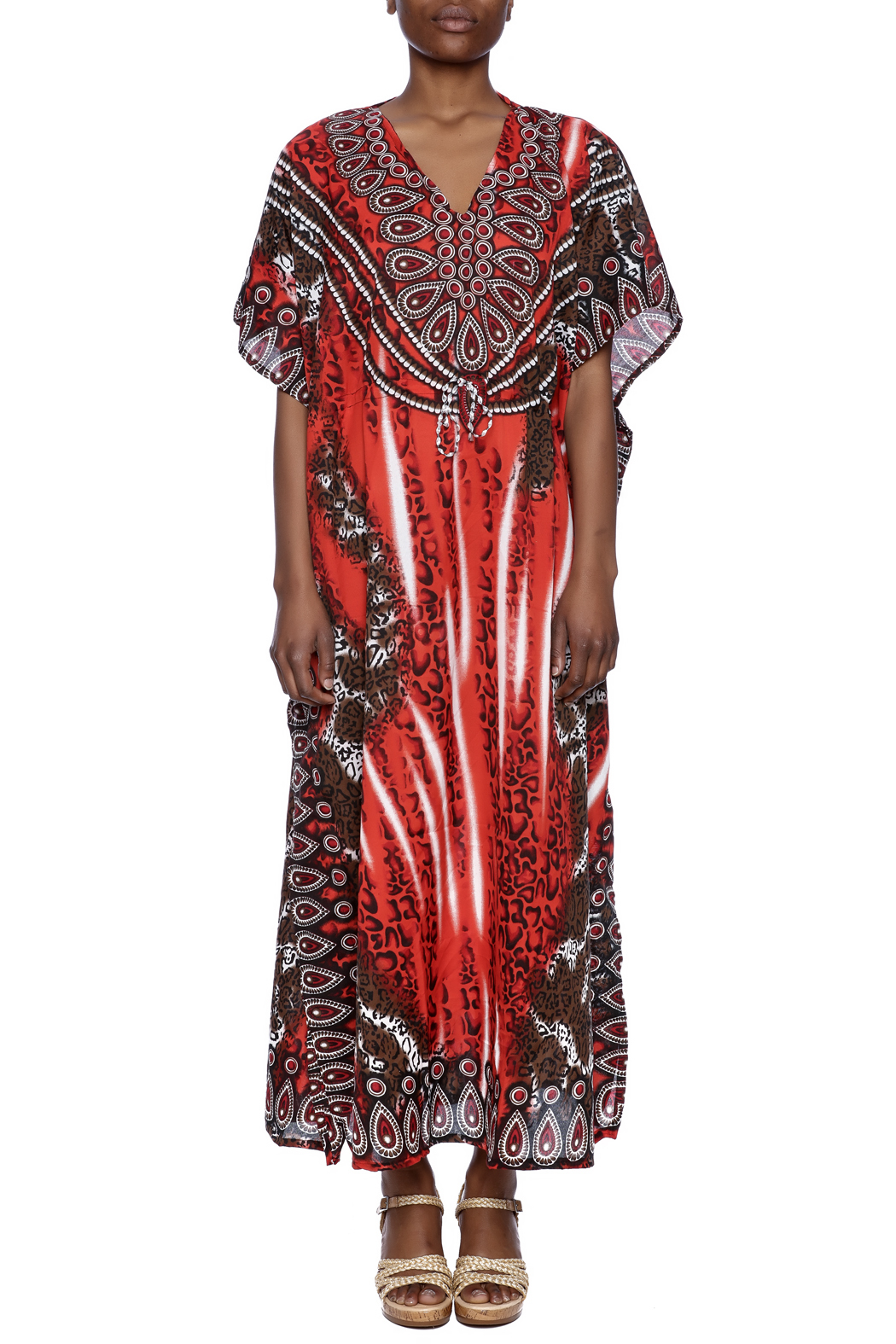 Raj lotus printed silk long caftan from downtown shoptiques for Caftan avec satin de chaise