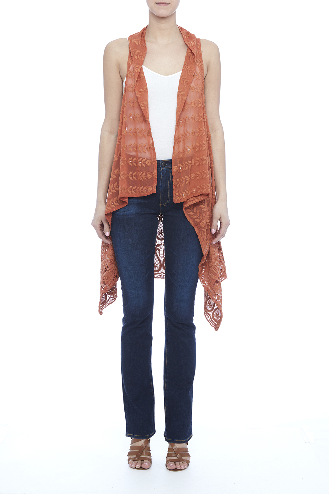 Raj Lotus Rust Lace Embroidered Vest - Side Cropped Image