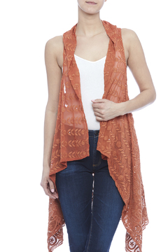 Raj Lotus Rust Lace Embroidered Vest - Product List Image