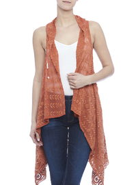 Raj Lotus Rust Lace Embroidered Vest - Product Mini Image