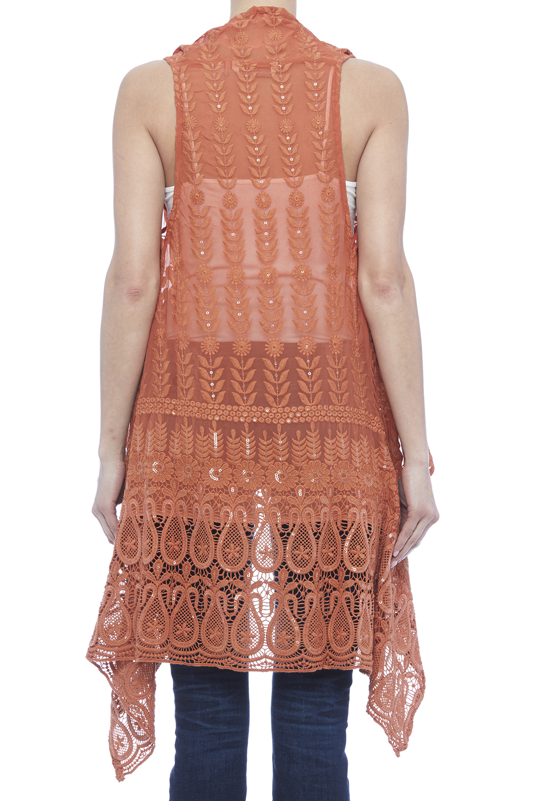 Raj Lotus Rust Lace Embroidered Vest - Back Cropped Image