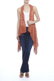 Raj Lotus Rust Lace Embroidered Vest - Front full body