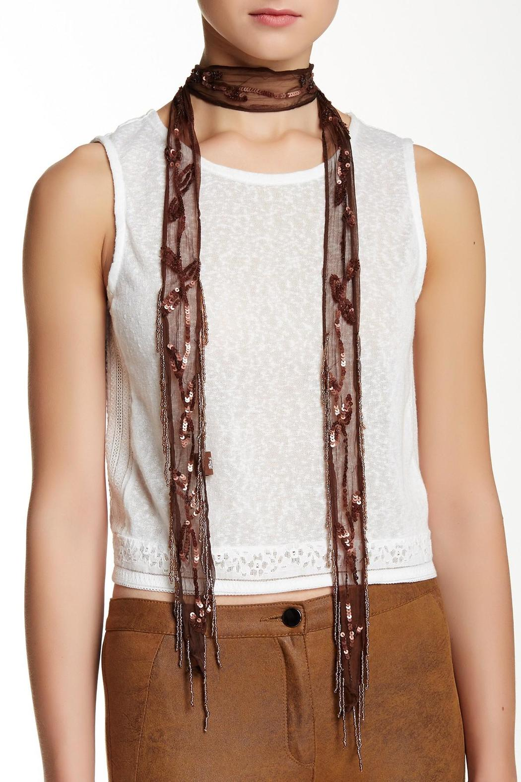 Raj Lotus Lariat Beaded Scarf - Main Image