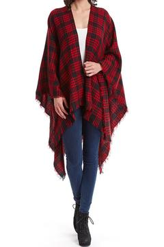 Raj Lotus Plaid Ruana-Red - Alternate List Image