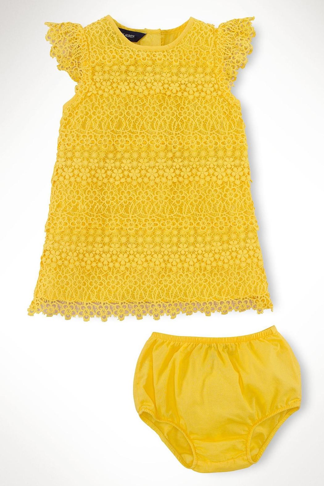 Ralph Lauren Baby Lemondrop Tiered-Lace Dress - Side Cropped Image