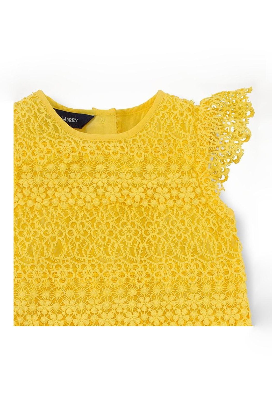 Ralph Lauren Baby Lemondrop Tiered-Lace Dress - Back Cropped Image