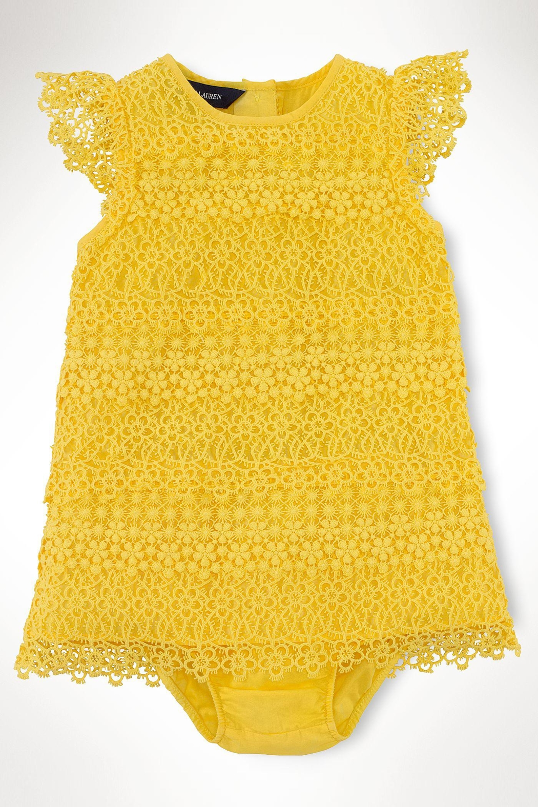 Ralph Lauren Baby Lemondrop Tiered-Lace Dress - Front Cropped Image