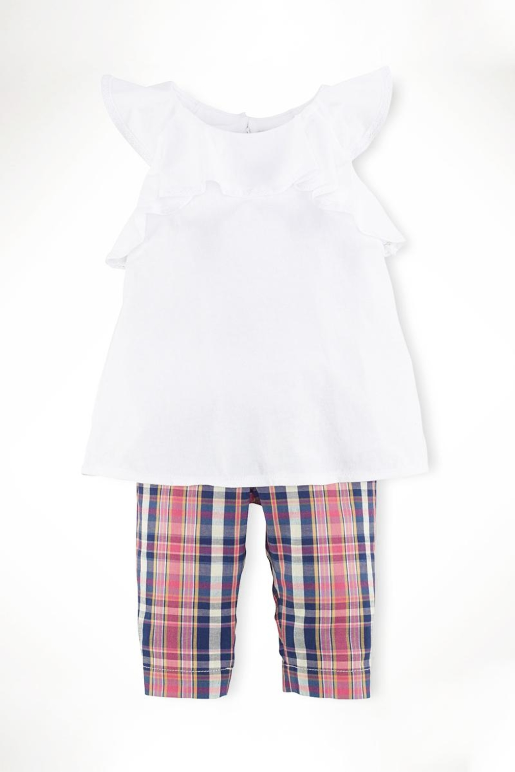 Ralph Lauren Childrenswear Ruffle-Top & Madras-Capri Set - Front Cropped Image