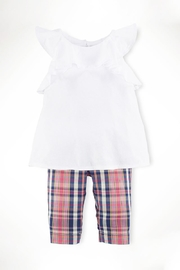 Ralph Lauren Childrenswear Ruffle-Top & Madras-Capri Set - Front cropped
