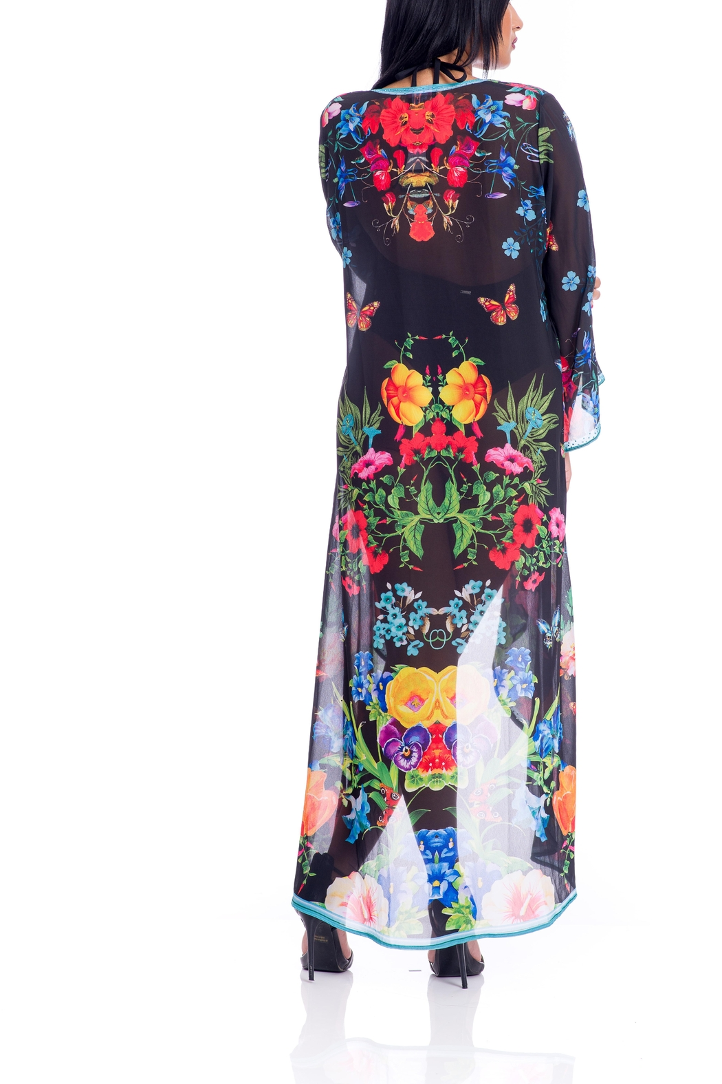 ranee?s Black Floral Duster - Front Full Image