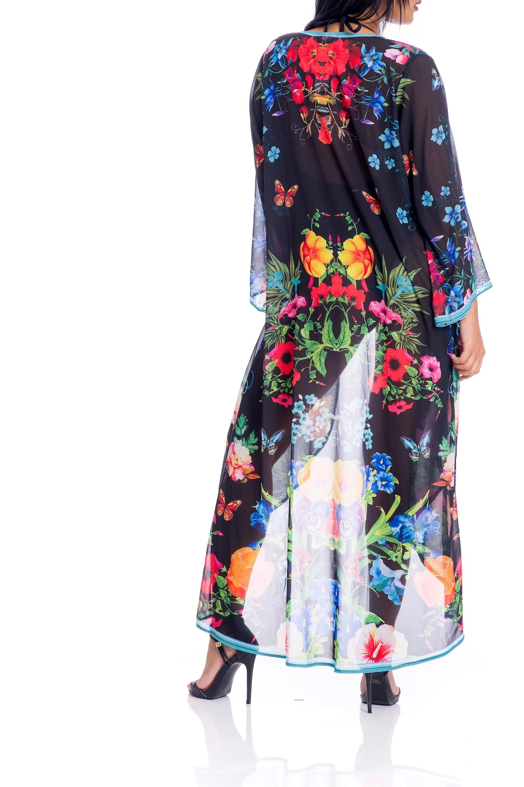 ranee?s Black Floral Duster - Back Cropped Image