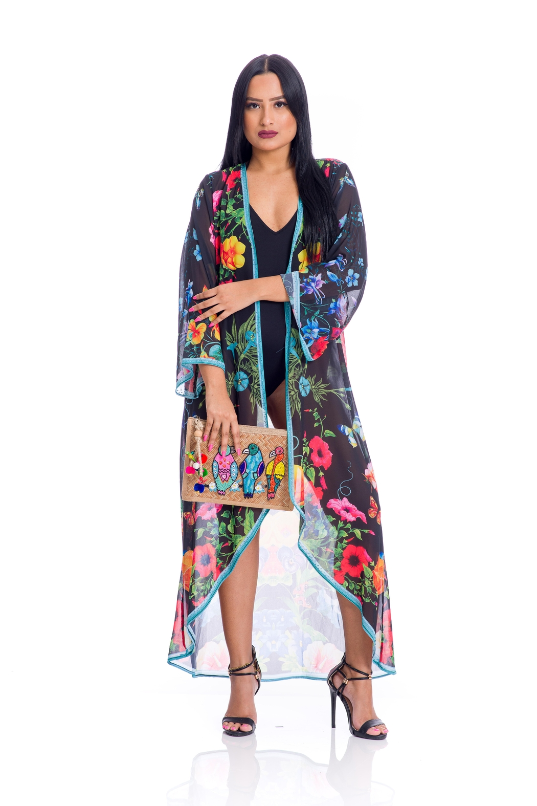 ranee?s Black Floral Duster - Main Image