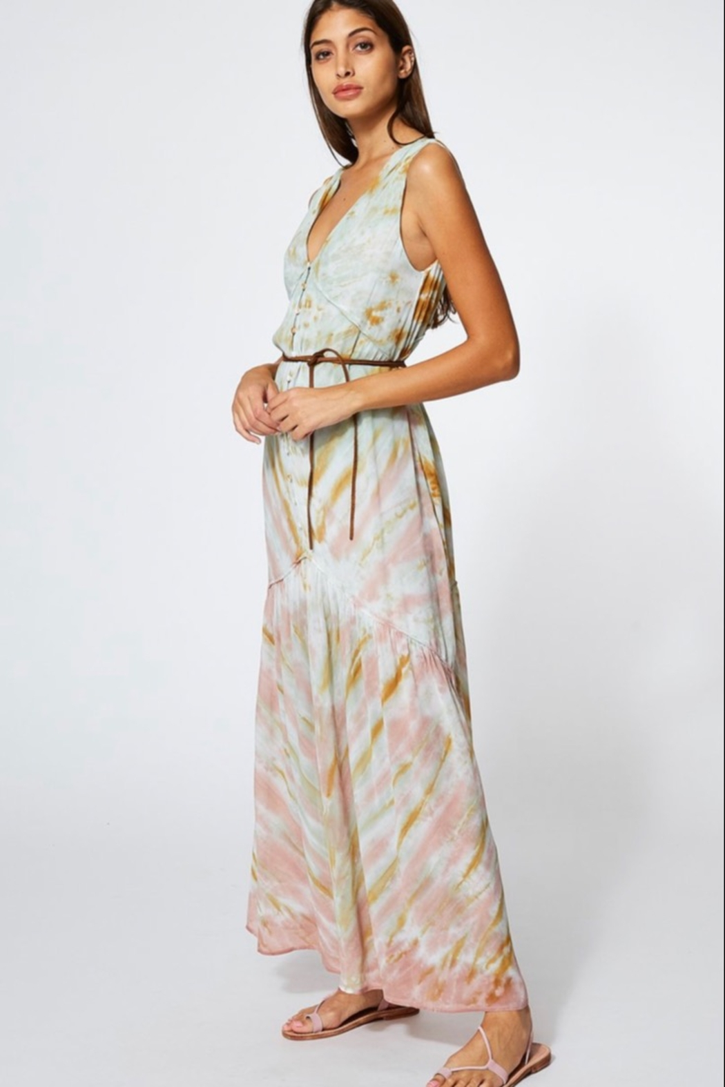 Young Fabulous & Broke RAQUEL DRESS IN WATER AUSTIN WASH - Side Cropped Image
