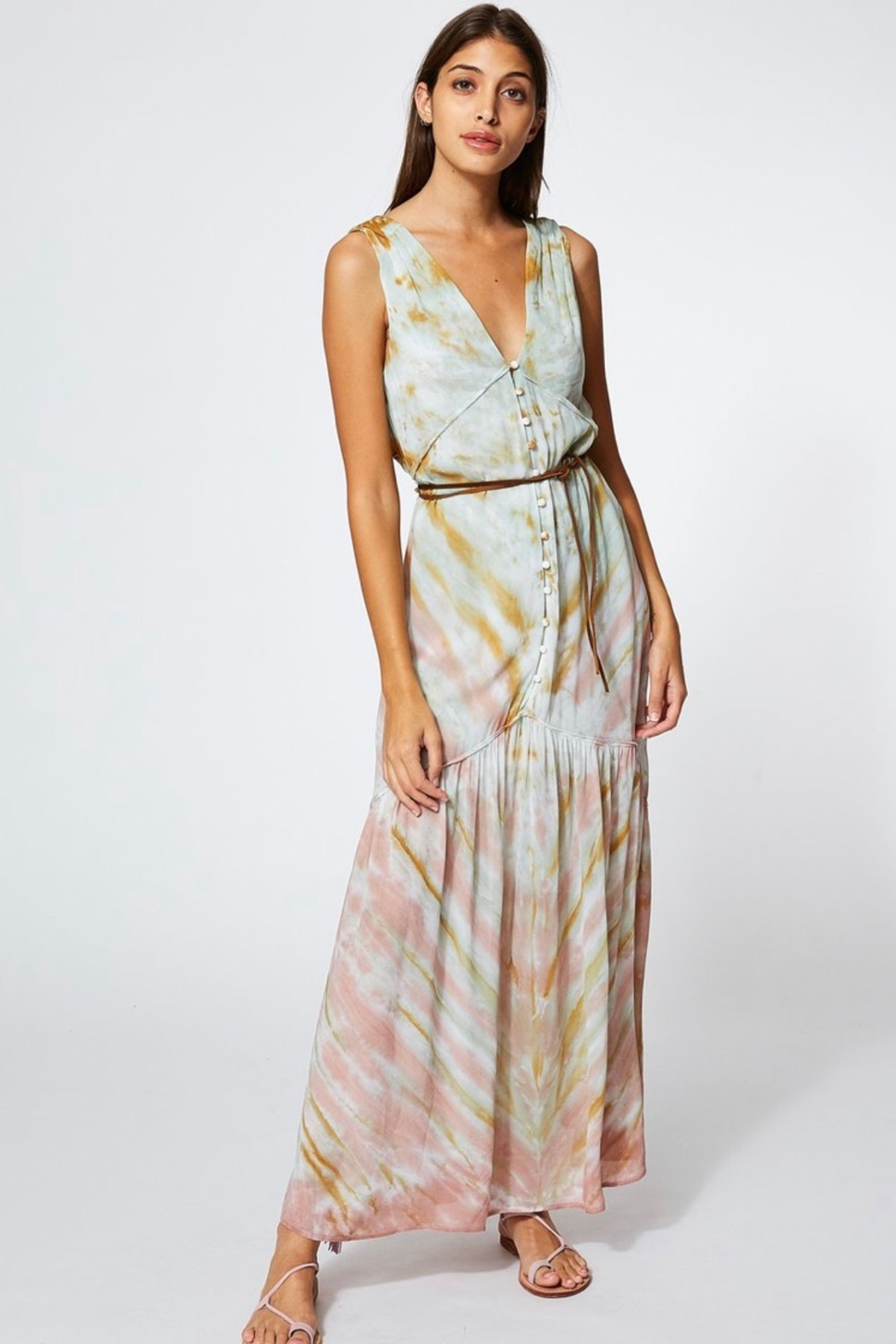 Young Fabulous & Broke RAQUEL DRESS IN WATER AUSTIN WASH - Front Full Image