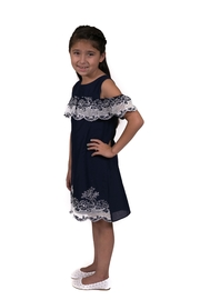 Rare Editions Navy Lattice Dress - Product Mini Image