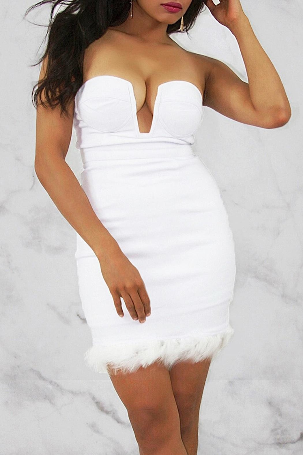 Rare London White Bustier Dress - Side Cropped Image