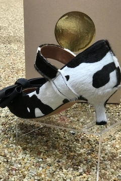 Shoptiques Product: Cowhide Kitten Heel With Bow