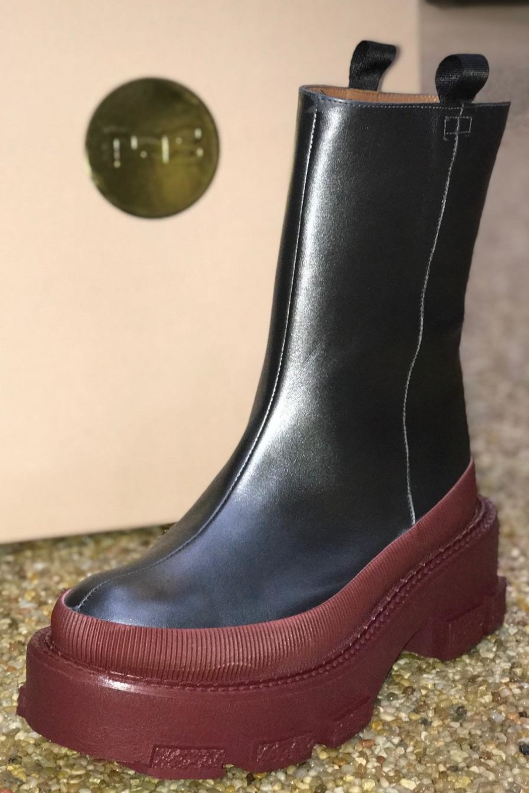 ras Platform Leather Boots - Front Cropped Image