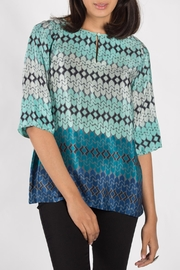 Rasa Teal Split Misha Top - Front full body