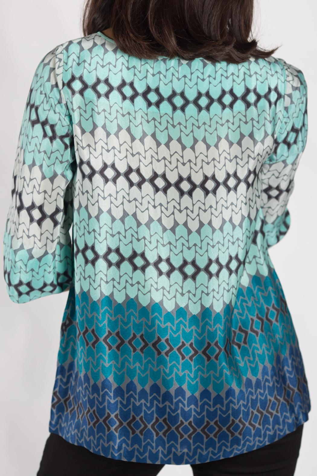 Rasa Teal Split Misha Top - Side Cropped Image