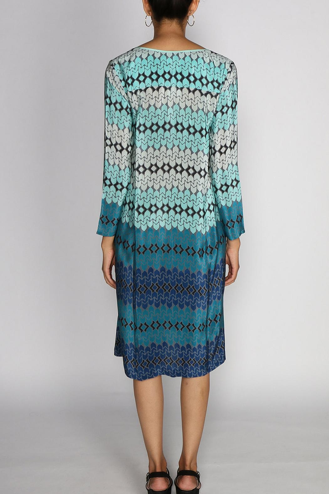 Rasa Teal Star Tunic Dress - Side Cropped Image