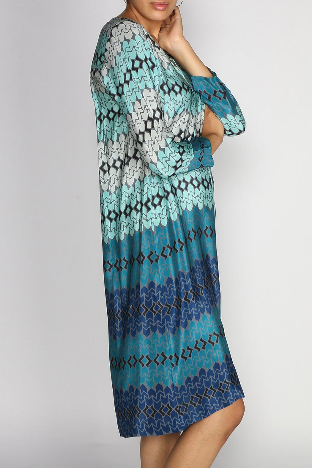 Rasa Teal Star Tunic Dress - Front Full Image