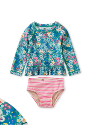 Tea Collection  Rash Guard Baby Swim Set - Garden Blues - Product Mini Image