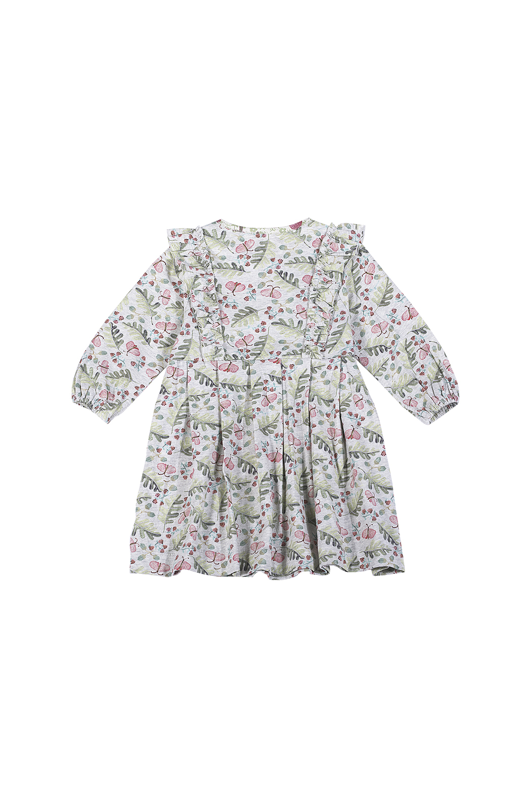 Paper Wings Raspberry Dreams Organic Pleated Dress - Front Full Image
