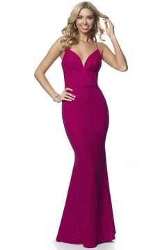 Blush Prom Raspberry Shimmer Fit & Flare Long Formal Dress - Product List Image