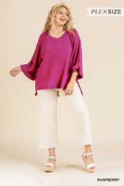 Umgee USA Raspberry Waffle Knit Tunic - Product Mini Image