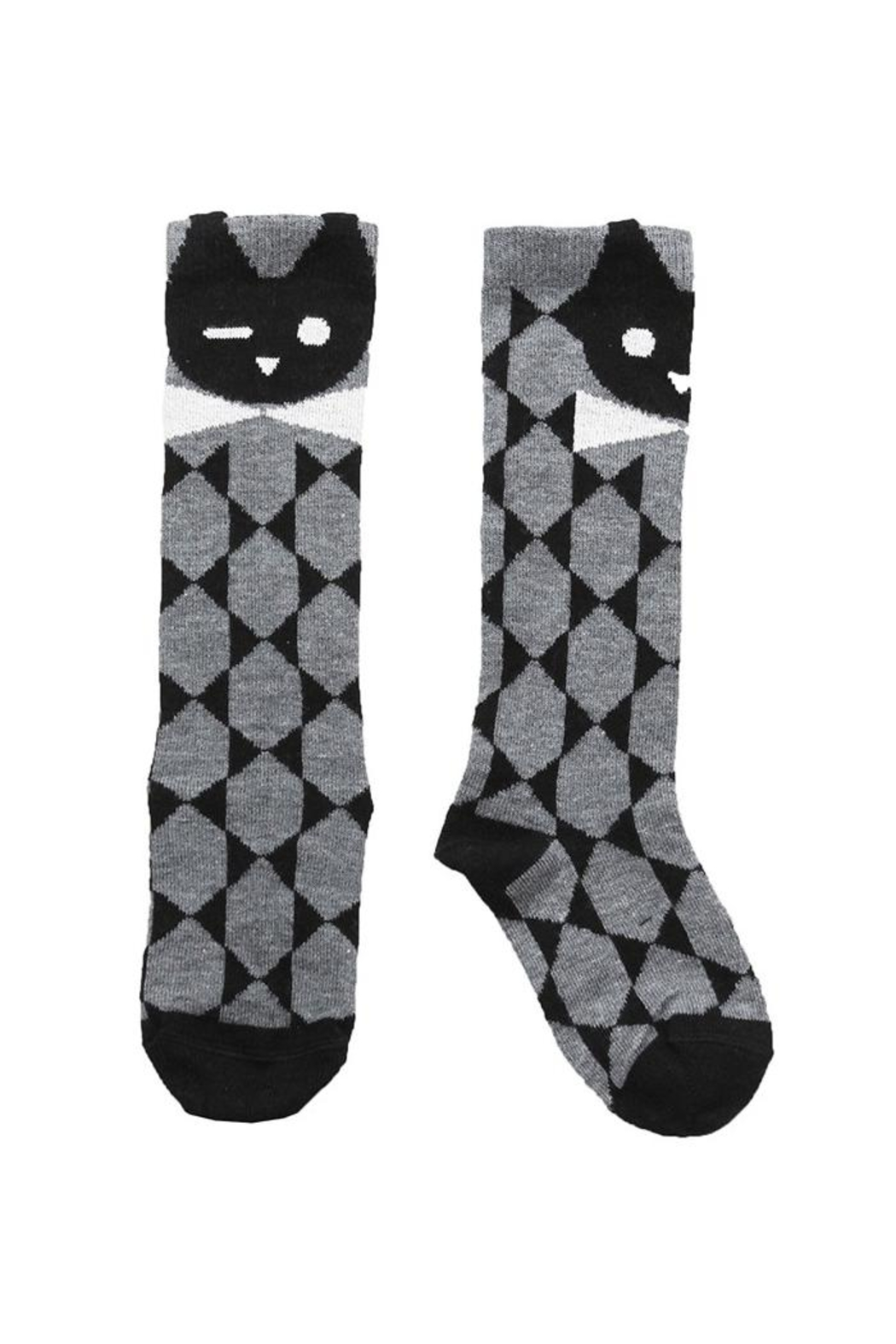 Raspberry Plum Tom Kitty Socks - Front Cropped Image